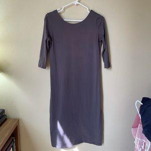 Gray Sheath MIDI Dress